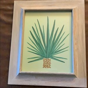 Cactus print in wooden whitewash frame
